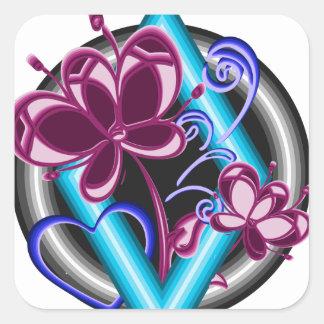 Diamond with purple flowers square sticker