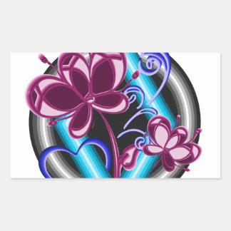 Diamond with purple flowers sticker