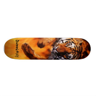 Diamondality Flaming tiger skateboard