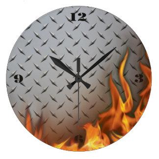 Diamondplate Metal and Fire  Wall Clock