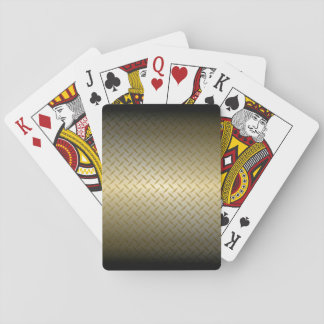 Diamondplate Pattern with Black to Gold Fade Playing Cards