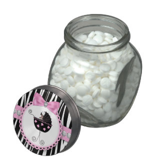 Diamonds and Bow Pink Zebra Baby Shower Candy