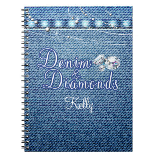 Diamonds and Denim Party Guest Book Note Books