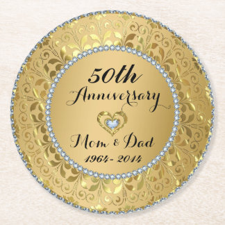 Diamonds And Gold Damask. 50th Wedding Anniversary Round Paper Coaster
