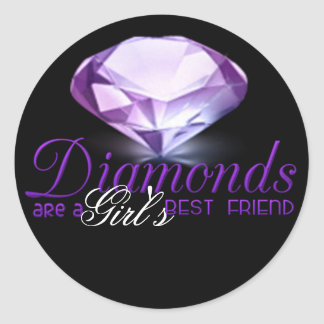 Diamond's are girl's best friend classic round sticker