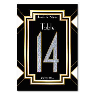 Diamonds Art Deco Wedding Table Number Fourteen Table Cards