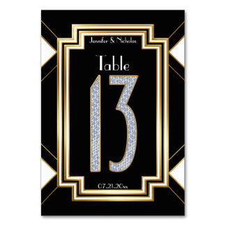 Diamonds Art Deco Wedding Table Number Thirteen Table Card
