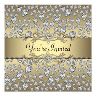 Diamonds Black and Gold All Occasion Party Personalized Invitations