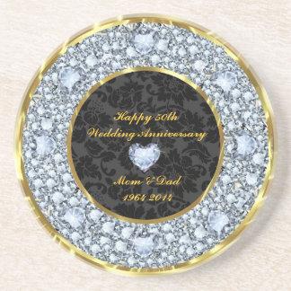 Diamonds, Black & Gold 50th Wedding Anniversary Drink Coaster