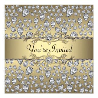 Diamonds Black Gold All Occasion Party Personalized Invitations
