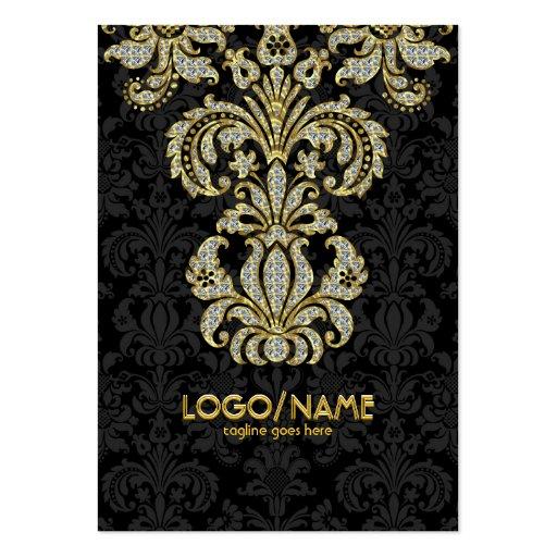 Diamonds Black & Gold Pattern Floral Damasks Business Card Templates