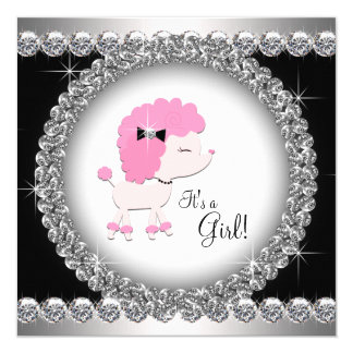 Diamonds Black Pink Poodle Baby Shower Card