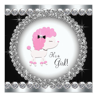 Diamonds Black Pink Poodle Baby Shower Invitations