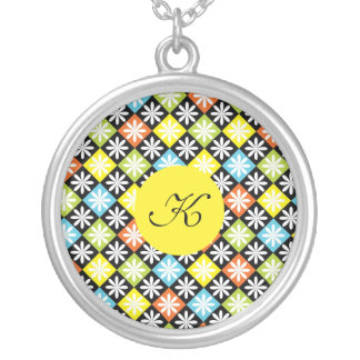 Diamonds colourful pattern custom monogram initial round pendant necklace