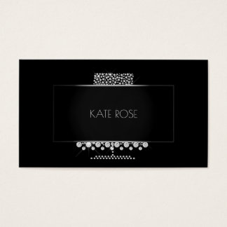 Diamonds Crystal Black Silver Cake Designer Business Card