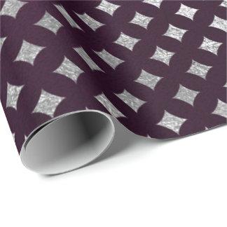 Diamonds Cut Silver Plum Purple Velvet Wrapping Paper