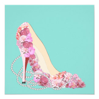 Diamonds & Flowers Heels Shower Party Invitation