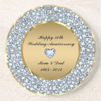 Diamonds & Gold 50th Wedding Anniversary Coaster