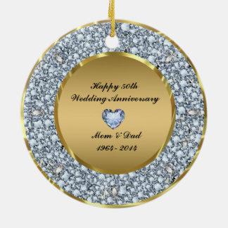 Diamonds & Gold 50th Wedding Anniversary Christmas Ornaments