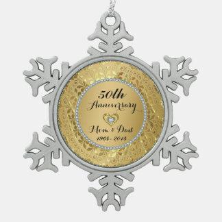 Diamonds & Gold 50th Wedding Anniversary Ornaments