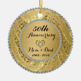 Diamonds & Gold 50th Wedding Anniversary Round Ceramic Ornament