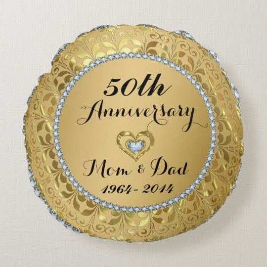 Diamonds & Gold 50th Wedding Anniversary Round Pillow