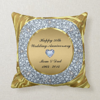 Diamonds & Gold 50th Wedding Anniversary Throw Pillow
