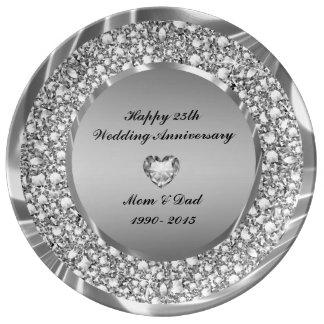 Diamonds Heart And Silver Glitter 25th Anniversary Plate