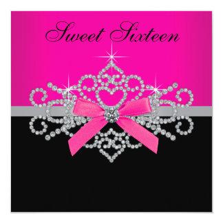 "Diamonds Hot Pink Black Sweet 16 Birthday Party 5.25"" Square Invitation Card"