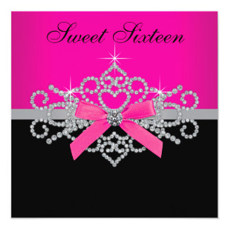 "Diamonds Hot Pink Black Sweet 16 Birthday Party 5.25"" Square Invitation Card"