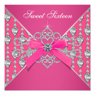 Diamonds Hot Pink Sweet 16 Birthday Party Card