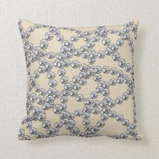 Diamonds Jewels Decor Silver Gray Ivory Throw Pillow