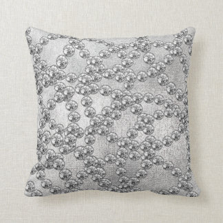 Diamonds Jewels Decor Silver Gray Metallic Throw Pillow