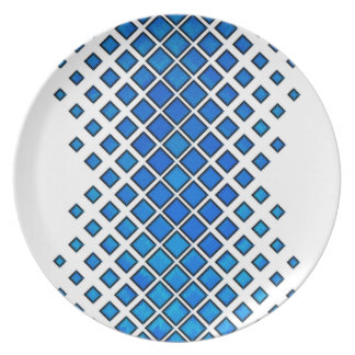 Diamonds Larger to Small Blue Plate