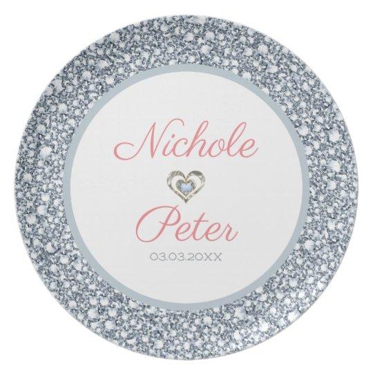 Diamonds Look Glitter - Save The Date Plate