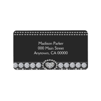 Diamonds on Black and White Background Label