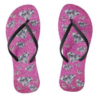 Diamonds Pink Glitter Bling Flip Flops