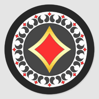 Diamonds Poker Chip Classic Round Sticker