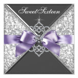 "Diamonds Purple and Black Sweet 16 Birthday Party 5.25"" Square Invitation Card"