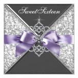 "Diamonds Purple and Black Sweet 16 Birthday Party 5.25"" Square Invitation Card"