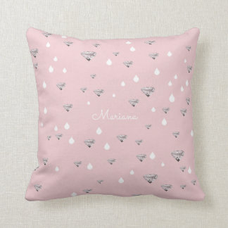 diamonds raindrops scattered on pink personalized throw pillow