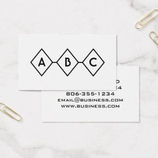 Diamonds Retro Modern Black and White Monogram Business Card