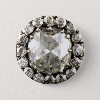Diamonds Rhinestone Vintage Costume Jewelry Brooch 2 Inch Round Button