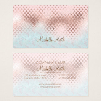 Diamonds Rose Gold Foil and Powder Blue ID400 Business Card