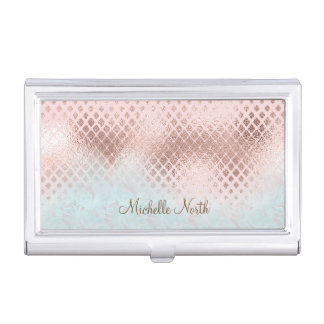 Diamonds Rose Gold Foil and Powder Blue ID400 Business Card Holder