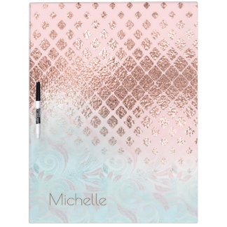 Diamonds Rose Gold Foil and Powder Blue ID400 Dry Erase Board