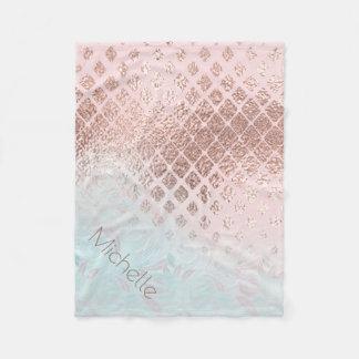 Diamonds Rose Gold Foil and Powder Blue ID400 Fleece Blanket