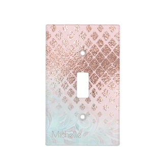 Diamonds Rose Gold Foil and Powder Blue ID400 Light Switch Cover