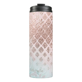Diamonds Rose Gold Foil and Powder Blue ID400 Thermal Tumbler