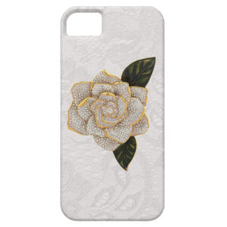Diamonds Rose on White Paisley Lace iPhone 5 Cover